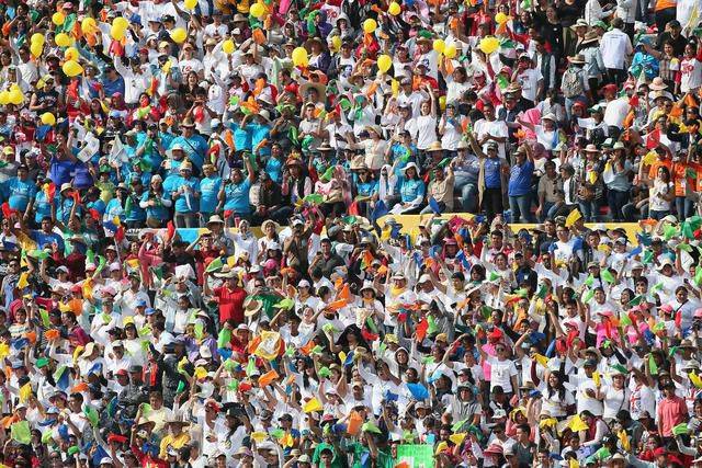 Faithful attend Pope Fancis' meeting with thousands of young people from all over Mexico at Jose Maria Morelos y Pavon Stadium, in Morelia, Mexico, 16 February 2016. The pontiff is in Mexico from 12 to 17 February as part of his tour, which will see him visiting six cities in four states. ANSA/ALESSANDRO DI MEO
