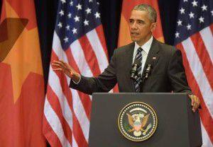 Tổng thống Mỹ Obama tại Trung tâm Hội nghị Quốc gia Hà Nội, sáng 24.5.2016