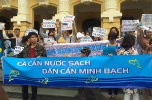 Người dân xuống đường tại Hà Nội yêu cầu được minh bạch thông tin về cá chết