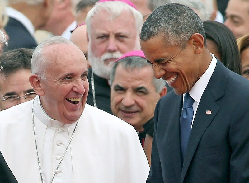 JOINT BASE ANDREWS, MD - SEPTEMBER 22: (EDITORS NOTE: Retransmission with alternate crop) Pope Francis (L) is escorted by U.S. President Barack Obama as he greets and other political and Catholic church leaders after arriving from Cuba September 22, 2015 at Joint Base Andrews, Maryland. Francis will be visiting Washington, New York City and Philadelphia during his first trip to the United States as Pope. (Photo by Chip Somodevilla/Getty Images)