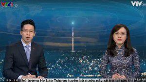 Hai phát thanh viên của VTV1 trong chương trình thời sự lên án Đức cha Phaolô Nguyễn Thái Hợp, lúc 19 giờ, ngày 15.05.2016