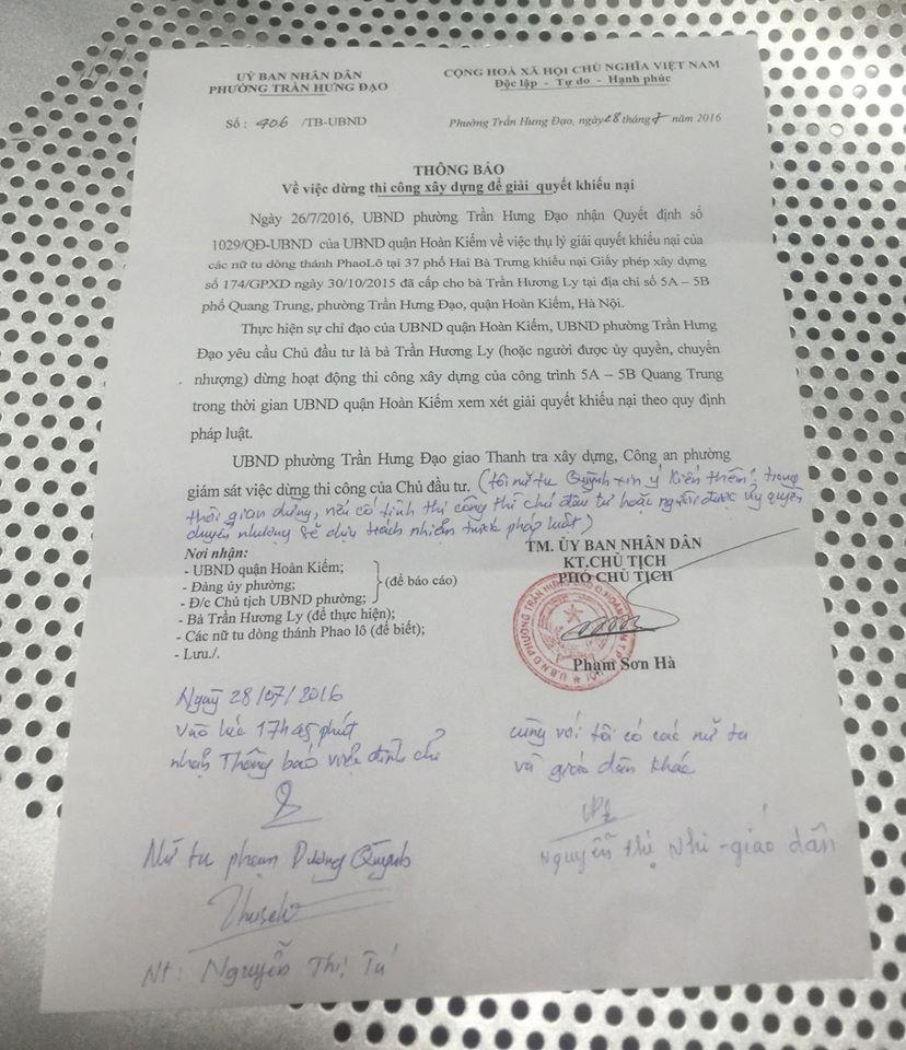 Thông báo yêu cầu chủ đầu tư dừng việc thi công công trình trên mảnh đất số 5 Quang Trung
