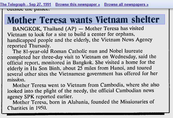 Tin vắn về chuyến thăm của Mẹ Têrêsa đến Việt Nam trên The Telegraph ngày 27/9/1991. Ảnh: Internet.