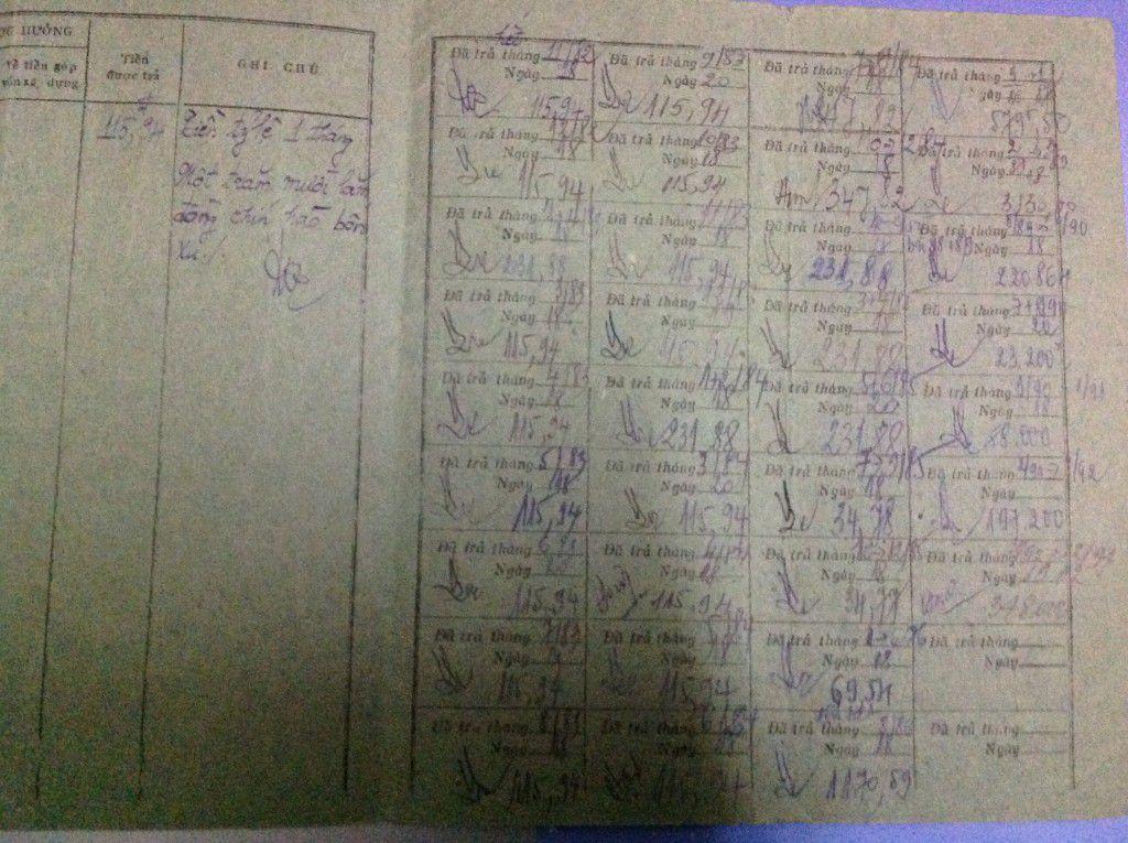 Sổ đi lấy tiền cho thuê nhà của quý soeurs Dòng Thánh Phaolô Hà Nội tại khu vực đất số 5A-5B Quang Trung