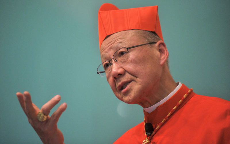 Hong Kong's Cardinal John Tong gestures as he speaks during a press conference in Hong Kong on March 2, 2012. Having been appointed by Pope Benedict XVI in February, Cardinal Tong held his first press conference in Hong Kong saying that he was optimistic that China will be more open on religious freedom. AFP PHOTO / AARON TAM (Photo credit should read aaron tam/AFP/Getty Images)