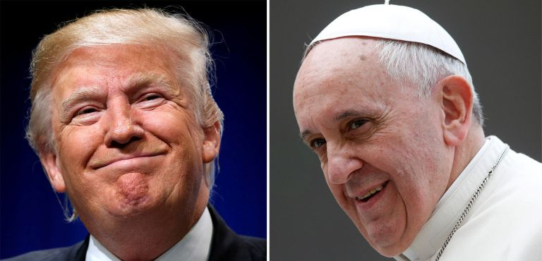 U.S. President Donald Trump and Pope Francis are seen in this composite file photo. The two leaders are scheduled to meet at the Vatican May 24. (CNS photo/Reuters) See POPE-TRUMP-MEETING May 4, 2017.